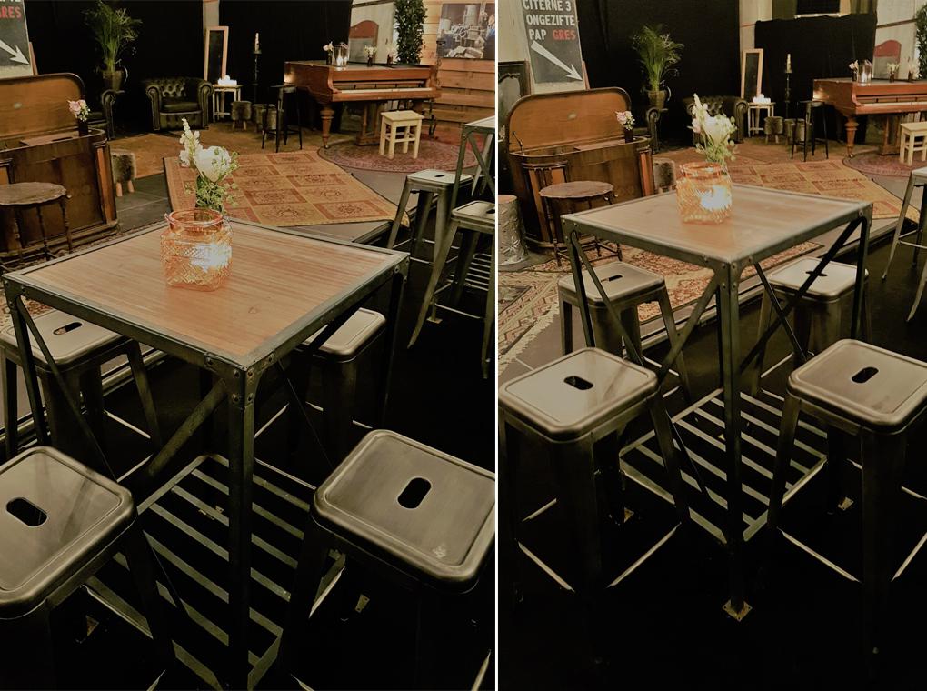 vintage gunmetal bar stools
