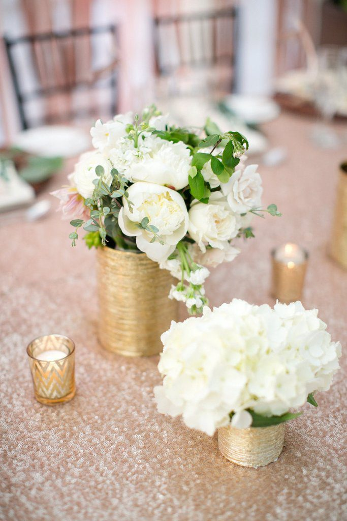 Champagne Sequin Table Cloth 305 Cm